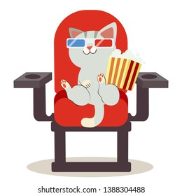 a cute character cartoon of cat sitting on the red chair in a cinema. it sitting on chair and holding a bag of popcorn. a cute cat wear a 3d glasses.cat watching a movie. cat in flat vector style