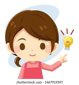 Cute character cartoon of housewife think idea with light bulb icon, Flat icon, Smart lady- Vector