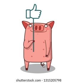 Cute character cartoon little pig, thumb up. like concept vector. - Vector