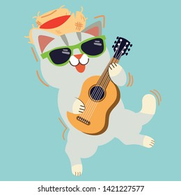 The cute character of cat playig a guitar. a cat wear a straw hat and sunglasses playing with a guitar and it look happy and fun. summer party time. cute cat in flat vector style.