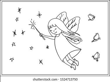 Fairies Coloring Book Images, Stock Photos & Vectors | Shutterstock