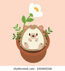 The cute character of hedgehog sitting in the plant pot. The plant pot have a white flower. The cute hedgehog with the white flower. The character of hedgehog in the flat vector style.