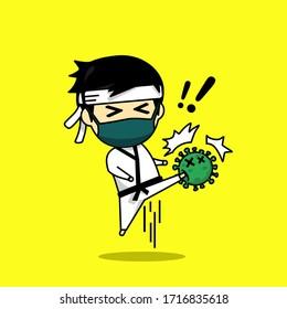 Cute character kick virus. Karate player design against virus