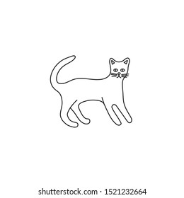 Cute character line style of cat. Simple icon of bengal breed for different design.