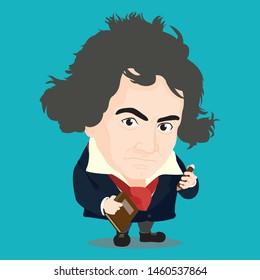Cute character of Ludwig van Beethoven