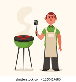 Cute Character. Man Cooking Meat on Grill. Vector Illustration