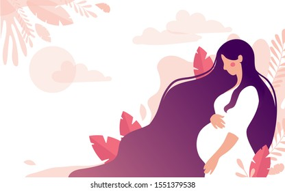 Cute character of a pregnant woman on a background of a gentle landscape with leaves and the sun, a place for text. The concept of motherhood, pregnancy, health, support for young mothers. Flat stock