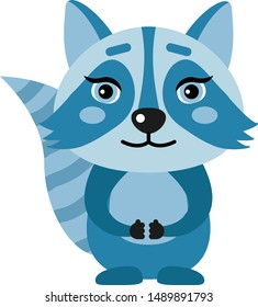 Cute character, raccoon in flat style. Vector illustration.