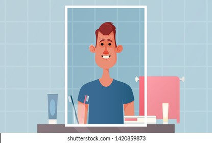 Cute Character Standing in Front of Mirror. Morning Concept. Cartoon Style. Vector Illustration