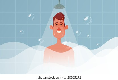 Cute Character Standing in the Shower in His Bathroom. Cartoon Style. Vector Illustration