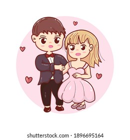 cute character wedding couple full of love in cartoon style
