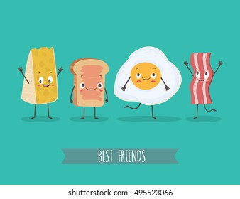 Cute characters cheese, bread, egg and bacon. Best friends set. Funny food. Cartoon vector  illustration
