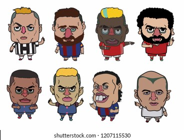 cute characters design in football dress.