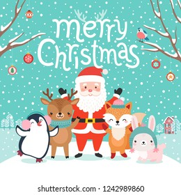 Cute characters hugging - Santa Claus, fox, reindeer, penguin and rabbit. Merry Christmas card. Vector illustration.