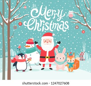 Cute characters hugging - Santa Claus, squirrel, rabbit, penguin and snowman. Merry Christmas card. Vector illustration.