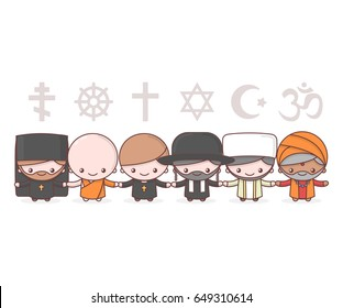 Cute characters. Judaism Rabbi. Buddhism Monk. Hinduism Brahman. Catholicism Priest. Christianity Holy father. Islam Muslim. Religion vector symbols. Friendship and peace for different creeds. Cartoon