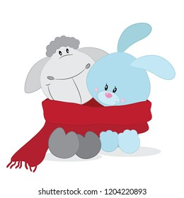 Cute characters Lamb and Bunny. Cartoon friends.