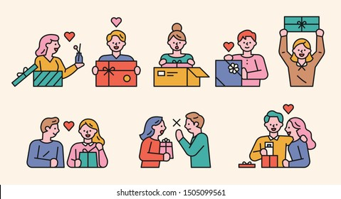 Cute characters opening the gift box. flat design style minimal vector illustration.