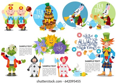 Cute characters set from alice in wonderland story vector illustration. Included in this set: Blue Caterpillar, Queen of Hearts, Mad Hatters, White Rabbit and Cheshire Cat.