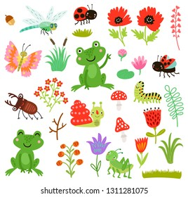 Cute characters set. Vector collection. Frogs and insects