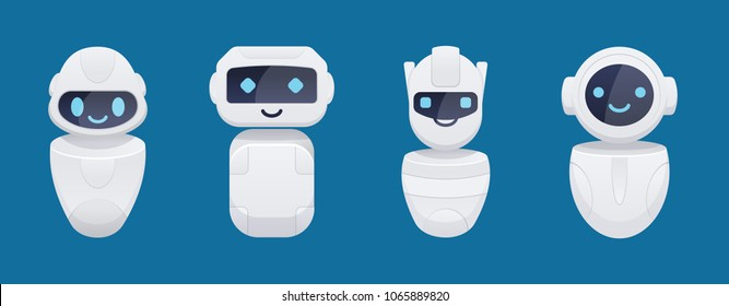 cute chat bot characters set. isolated vector illustration