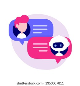 Cute chat bot chatting with man person. Vector flat modern style cartoon character illustration icon design. Isolated on white background. Chatbot robot concept. Dialog help service