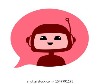 Cute chatbot smiling face. Virtual smart bot robot in red dialog bubble. Vector