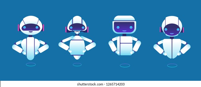 Cute chatbots. Robot assistant, chatter bot, helper chatbot vector cartoon characters