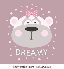 cute cheeky monkey with bow and lettering dreamy isolated on hearts background, tshirt design for any vector illustration