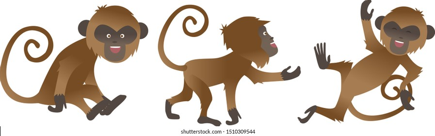 Cute Cheeky Monkey Mascot in Different Poses. Vector animal collection in cartoon style. Set of cute funny monkeys. Happy Monkey Set.