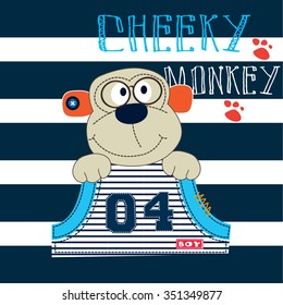 cute cheeky monkey on striped background, T-shirt design vector illustration