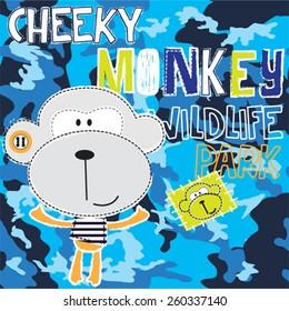cute cheeky monkey, T-shirt design vector illustration