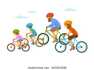 cute cheerful cartoon active family riding bikes bicycles, cycling together isolated vector illustration scene