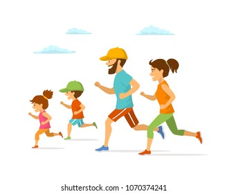 cute cheerful cartoon active family running jogging together isolated vector illustration outdoor exercising isolated scene