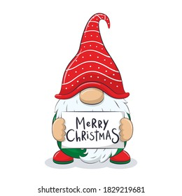 "Cute cheerful gnome with phrase ""Merry Christmas""."