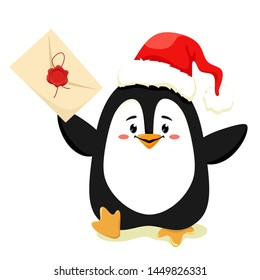 A cute and cheerful penguin runs with a letter in the paw for Santa Claus. Vector isolate on white background.