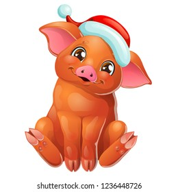 The cute cheerful red Duroc breed pig head with Santa Claus cap sits. A yellow hog, boar a symbol 2019 New Years according to the Chinese calendar. A cartoon vector illustration isolated on white.