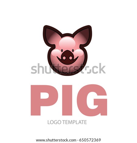 Cute cheerful smiling pink pig - icon or sign logo template