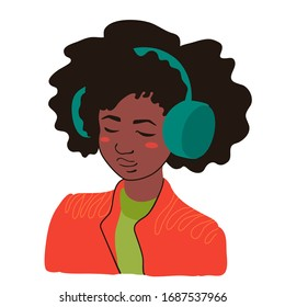 Cute cheerful teenager listen to music. Vector cartoon illustration isolated on a white background.
