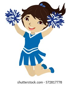 Cute cheerleader jumps and waves pompoms. Cartoon character