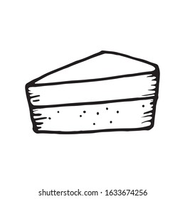 Cute cheesecake hand drawn vector doodle illustration. Black outlines Isolated on white background. Decorative element for cafe or restaurant menu design, food infographic and printed materials.