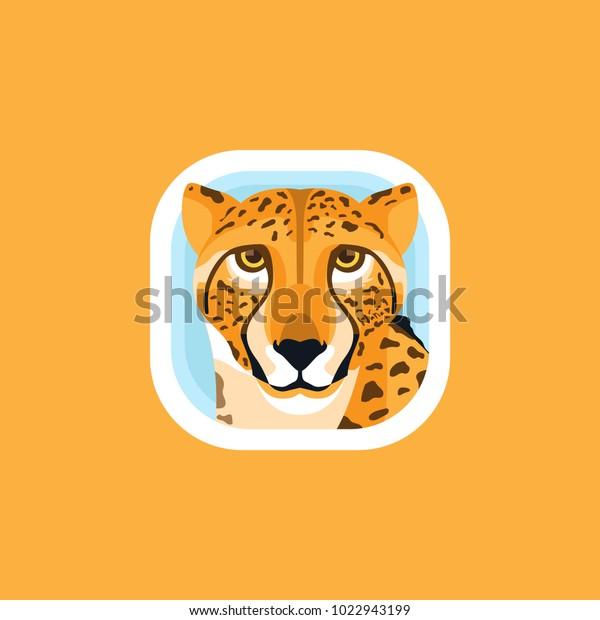 Cute Cheetah App Icons Logo Illustration Stock Vector