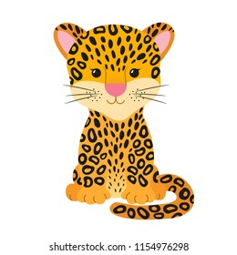 Cute cheetah, leopard or jaguar cartoon character, flat colorful drawing funny jungle tropical animal. Vector illustration isolated on white background, for kids app, game, book, print, card, sticker.