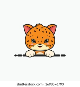 Cute cheetah, for printing baby clothes, baby showers. Cute animals from nature. Cute cartoon cheetah, animal from the zoo. vector illustration.