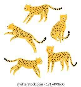 Cute cheetahs cartoon vector set