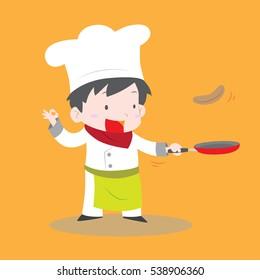 Cute chef boy flipping pancake in fry pan vector stock