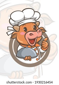 cute chef cow cartoon character - mascot and illustration