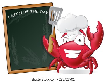 Cute Chef Crab with Spatula and Menu Board. Great illustration of a Cute Cartoon Crab Chef holding a Frying Spatula next to Menu Board.
