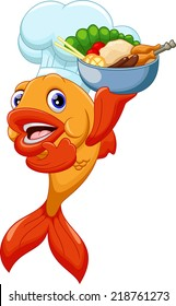 cute chef fish cartoon