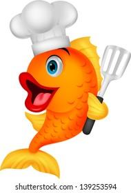 Cute chef fish cartoon holding spatula